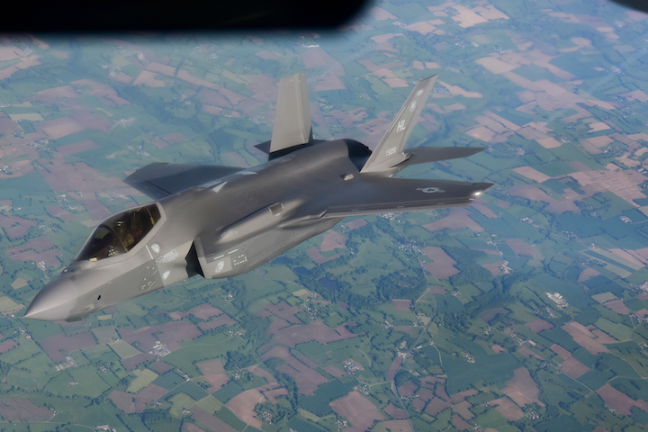 The Pentagon's F-35 fighter jet, a revenue mainstay for manufacturer Lockheed Martin Corp. and Pratt & Whitney, is facing pushback over its cost, the greatest in U.S. military history for a weapon system. Here, a U.S. Air Force F-35A assigned to the 4th Fighter Squadron, Hill Air Force Base, Utah, flies over France on May 30, 2021.